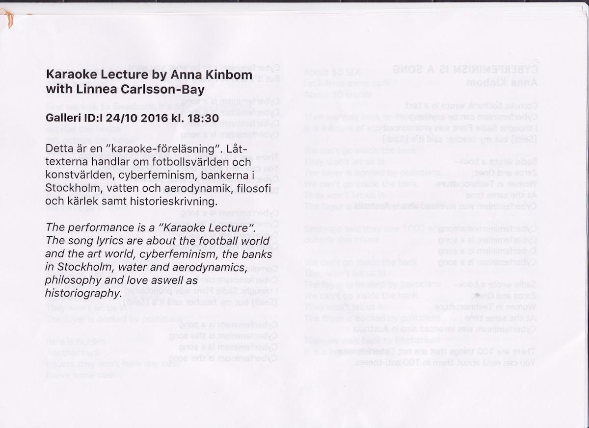 Karaoke Lecture   Anna Kinbom